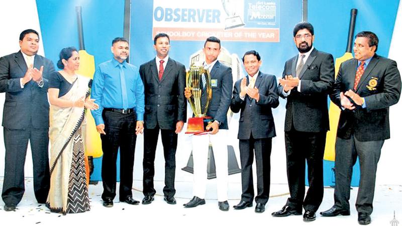 FLASHBACK: Sadeera Samarawickrema of St. Joseph's College, Colombo was awarded the Observer Schoolboy Cricketer of the Year award at the Cinnamon Grand Hotel on October 15, 2014. Pic: Sulochana Gamage