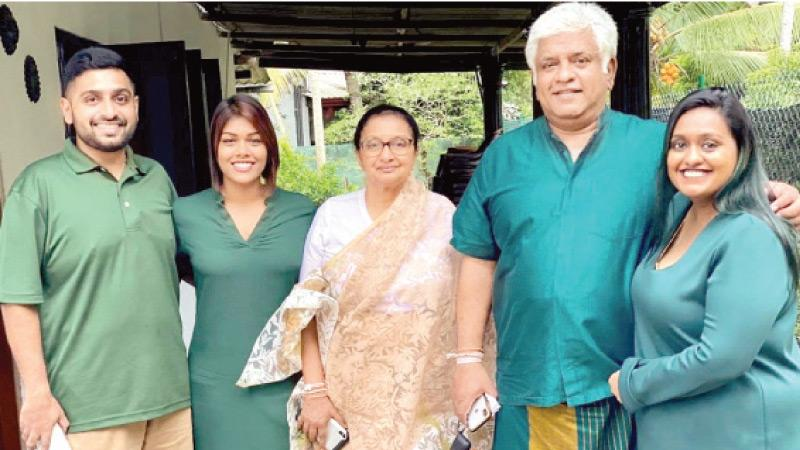 Ranatunga family - (from left) son Dhyan, daughter-in-law Denushka, wife Samadara, Arjuna and daughter Thiyangie
