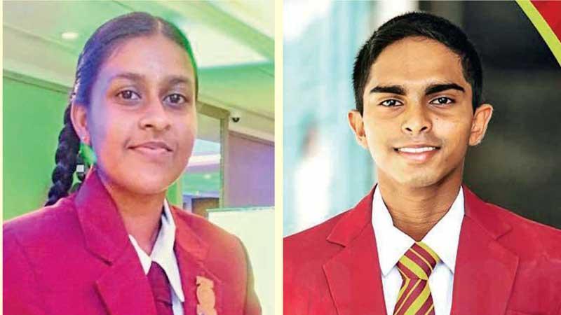 2020 Observer-Mobitel Most Popular Schoolgirl Cricketer of the Year, Nimesh Wijesundera of Marapola MV, Minuwangoda and 2020 Observer-Mobitel Most Popular Schoolboy Cricketer of the Year, Anuda Jayaweera of Ananda College, Colombo