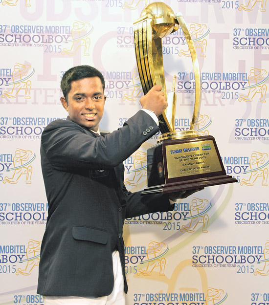 Charith Asalanka of Richmond College,Galle became the undisputed champion schoolboy cricketer for the year 2015 winning three major awards