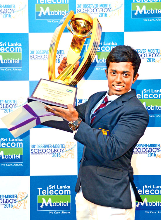 Charith Asalanka of Richmond College Galle, who won the Schoolboy Cricketer of the Year