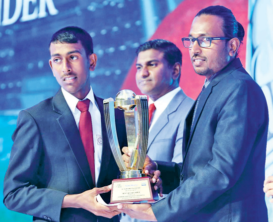 Division Two Best All Rounder Samith Chanaka Elkaduwa receives his Award