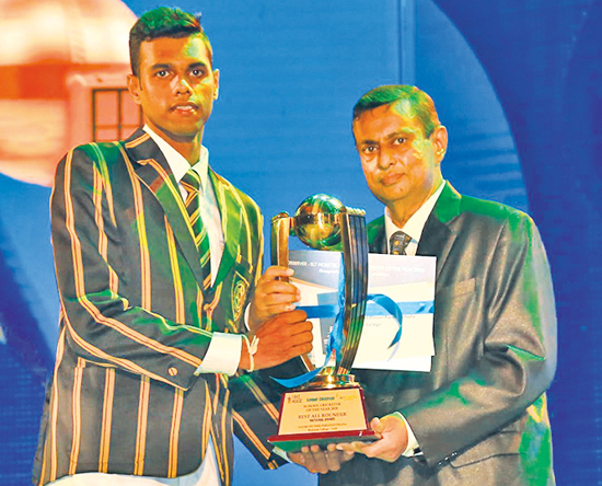 Navod Dinusri Paranavithana of Mahinda College, Galle also received the best All Rounder's award in the National category presented by Daminda Cooray president of the Sri Lanka Umpires' Association